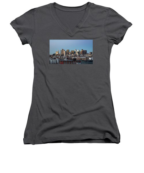 The Skyline Of Boston In Massachusetts, Usa On A Clear Winter Ev Women's V-Neck