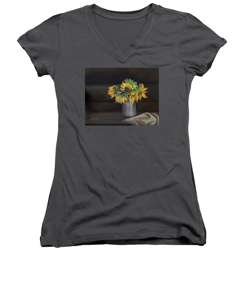 Women's V-Neck featuring the painting The Sun Flowers  by Fe Jones