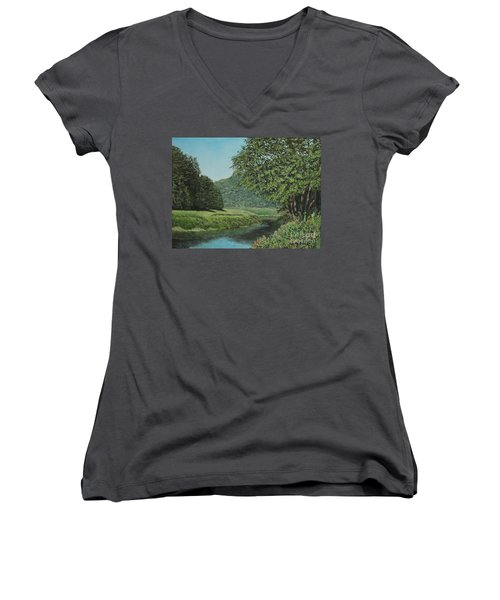 The Wye River Of Wales Women's V-Neck (Athletic Fit)