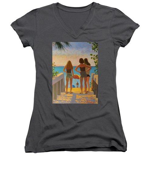 Three Beach Girls Women's V-Neck