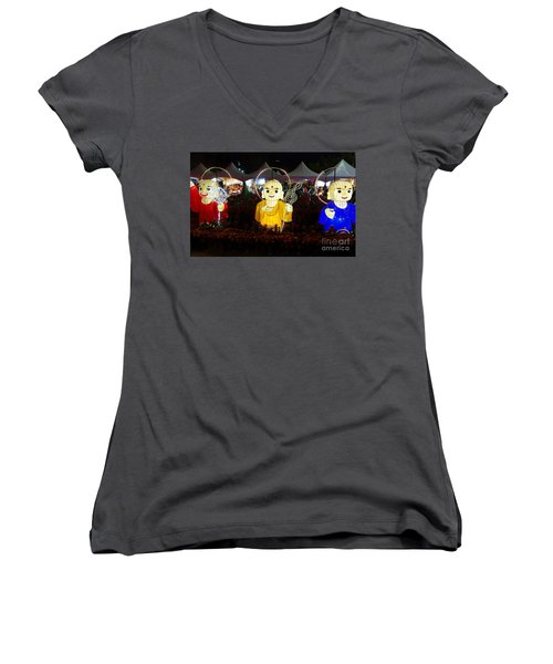 Three Lanterns In The Shape Of Buddhist Monks Women's V-Neck