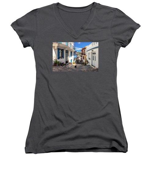 Town Of Skopelos Women's V-Neck