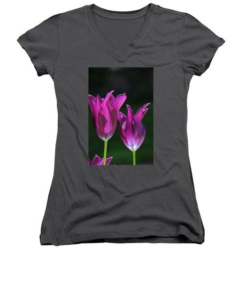 Translucent Tulips Women's V-Neck