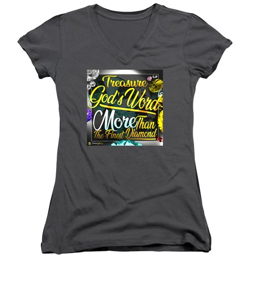Women's V-Neck featuring the digital art Treasure God's Word by Passion Give