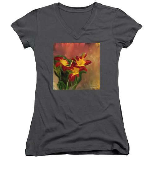 Trio Of Day Lilies Women's V-Neck