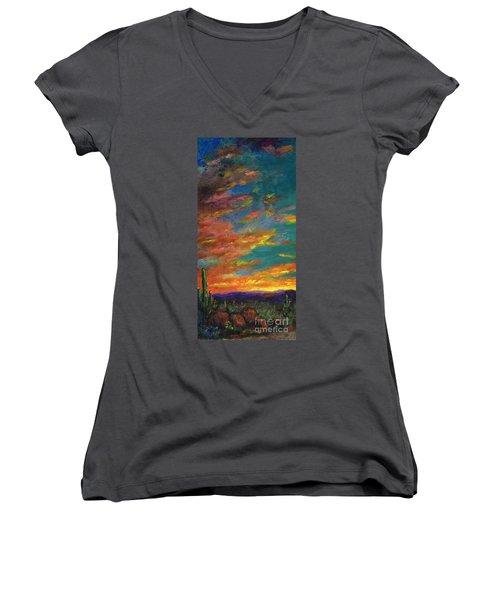 Triptych 1 Desert Sunset Women's V-Neck