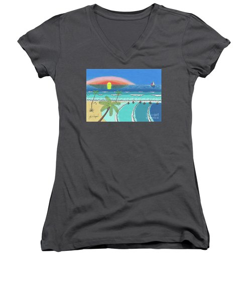 Women's V-Neck featuring the drawing Tropical Sunrise by John Wiegand