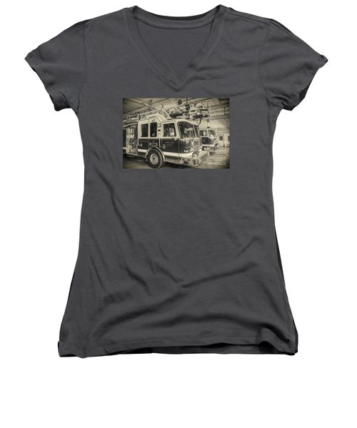 Truck And Engine 211 Women's V-Neck