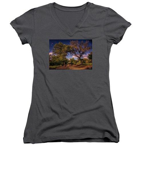Two Old Oak Trees At Sunset Women's V-Neck