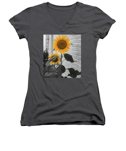 Urban Sunflower - Black And White Women's V-Neck