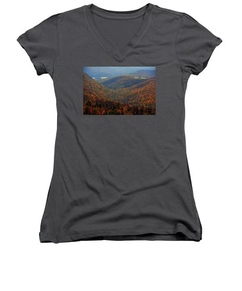 Women's V-Neck (Athletic Fit) featuring the photograph Valley Below Mount Greylock 2 by Raymond Salani III