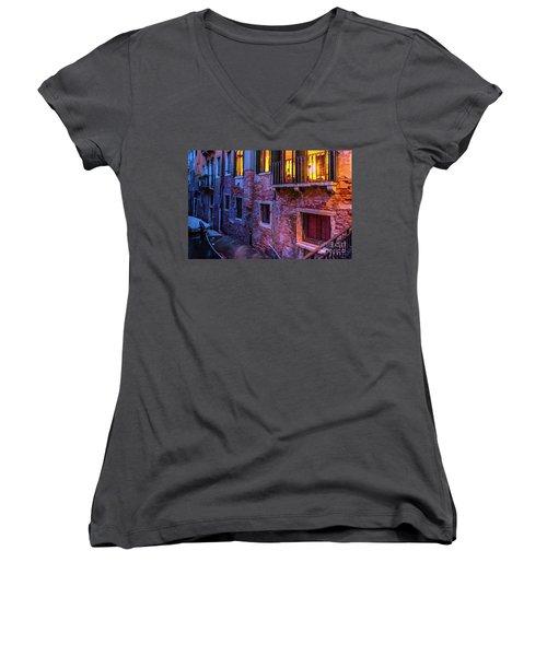 Venice Windows At Night Women's V-Neck