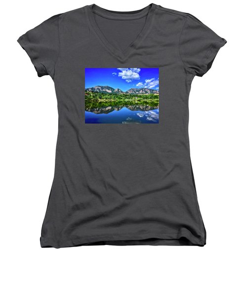 Women's V-Neck featuring the photograph Viele Lake by Dan Miller