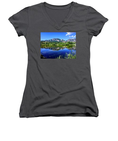 Women's V-Neck featuring the photograph Viele Lake 3 by Dan Miller