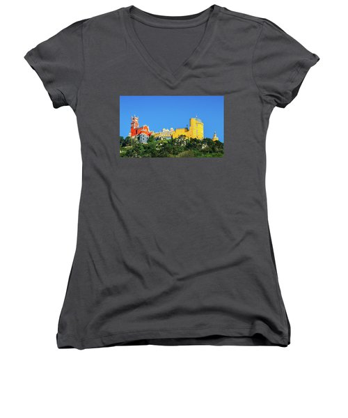 View Of Pena National Palace, Sintra, Portugal, Europe Women's V-Neck