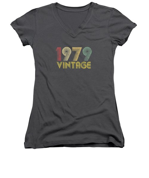 Vintage 1979 40th Birthday Gift 40 Years Old Funny T-shirt Women's V-Neck
