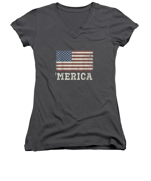 Vintage Usa Flag 'merica T-shirt Women's V-Neck