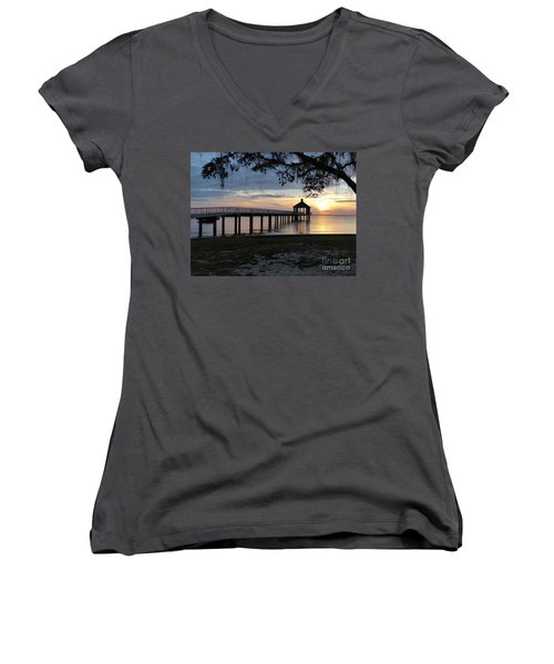 Walking Bridge To The Gazebo Women's V-Neck