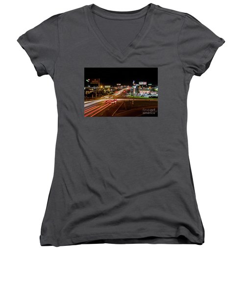 Washington Road At Night - Augusta Ga Women's V-Neck