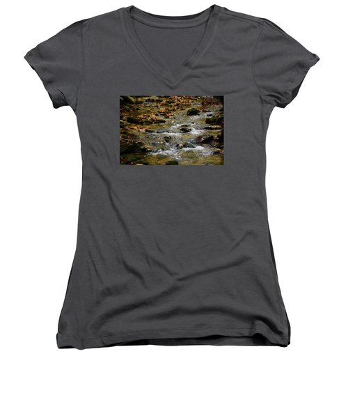 Women's V-Neck (Athletic Fit) featuring the photograph Water Navigates The Rocks by Raymond Salani III