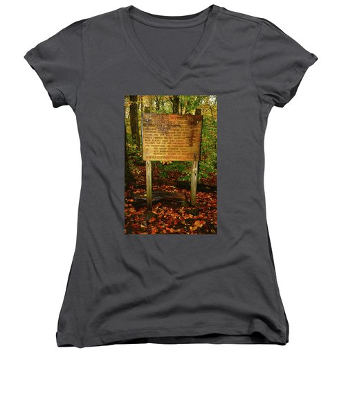 Women's V-Neck (Athletic Fit) featuring the photograph Welcome To The Long Trail And The Vermont At by Raymond Salani III