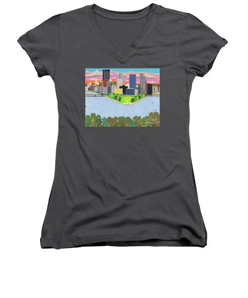 Women's V-Neck featuring the drawing West End Overlook by John Wiegand