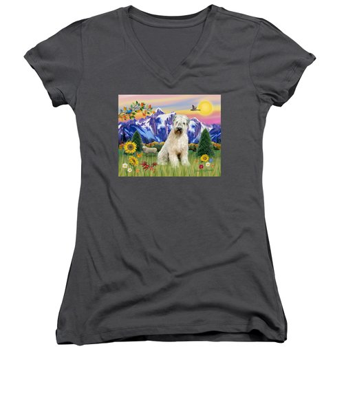 Wheaten Terrier In The Country Women's V-Neck