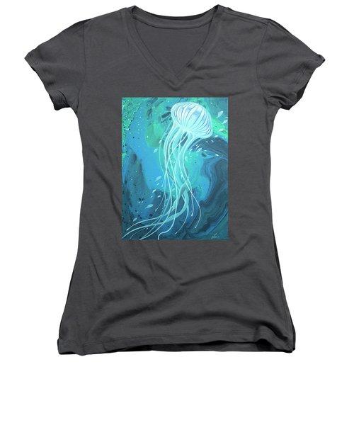 White Jellyfish Women's V-Neck