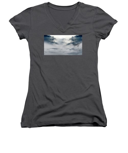 Wolfs In The Snow Women's V-Neck