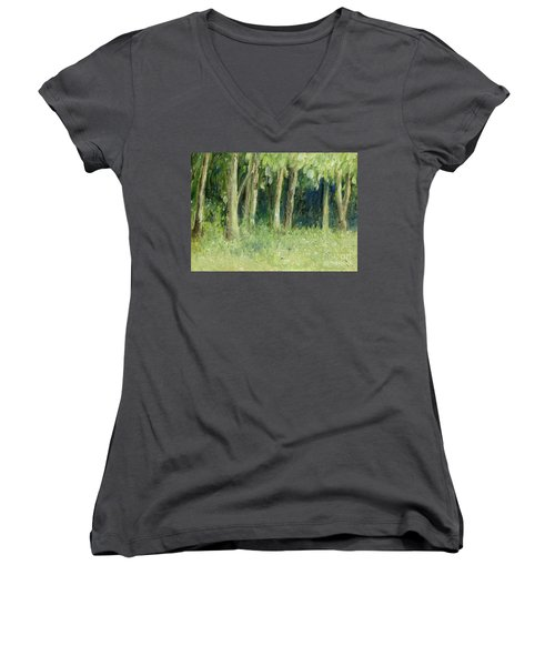 Woodland Tree Line Women's V-Neck