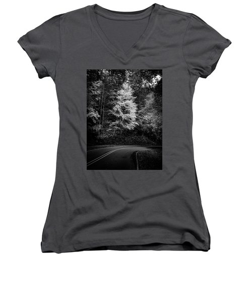 Yellow Tree In The Curve In Black And White Women's V-Neck
