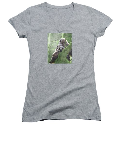 Women's V-Neck T-Shirt (Junior Cut) featuring the photograph Harbingers Of Spring by I'ina Van Lawick