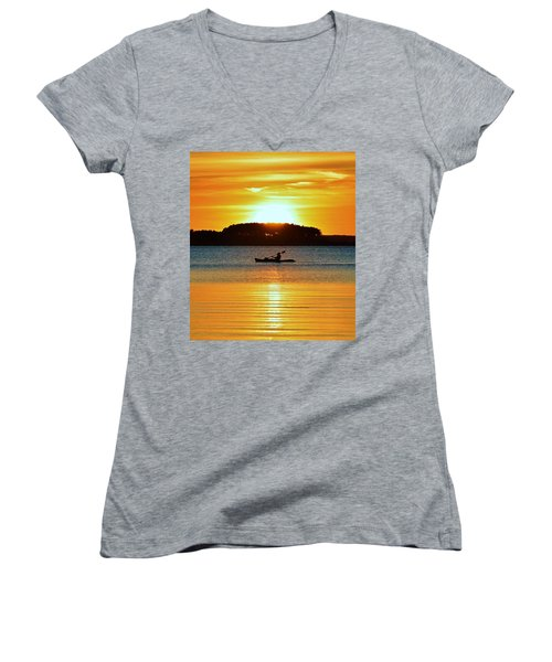 A Reason To Kayak - Summer Sunset Women's V-Neck (Athletic Fit)