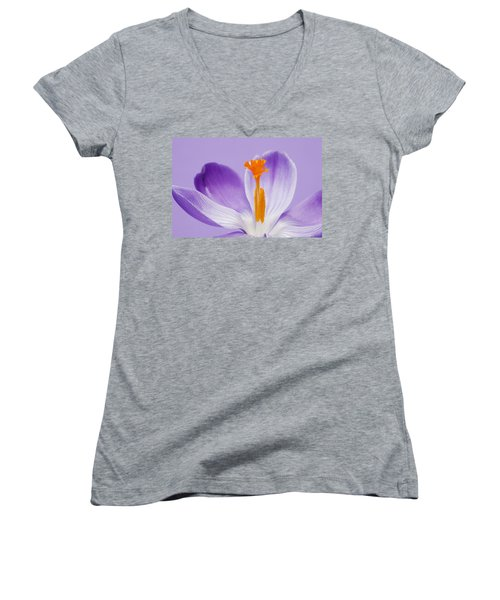 Abstract Purple Crocus Women's V-Neck (Athletic Fit)