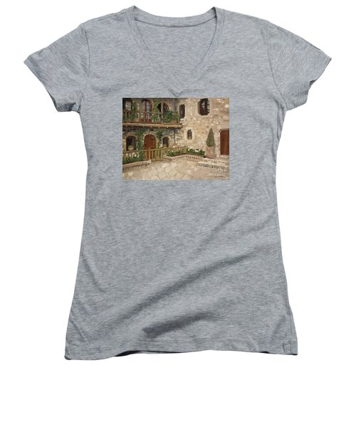 Women's V-Neck T-Shirt (Junior Cut) featuring the painting Greek Courtyard - Agiou Stefanou Monastery -balcony by Jan Dappen
