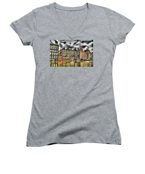 Amsterdam Water Canals Women's V-Neck T-Shirt (Junior Cut) by Georgi Dimitrov