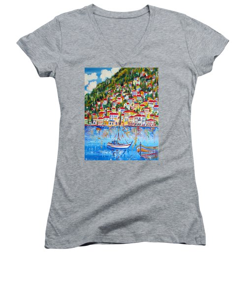 Women's V-Neck T-Shirt (Junior Cut) featuring the painting  Boats Down South Italy Coast  by Roberto Gagliardi