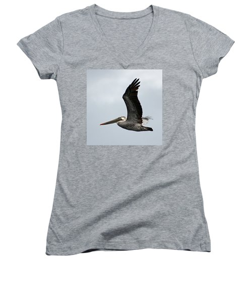 Brown Pelican In Flight Women's V-Neck (Athletic Fit)