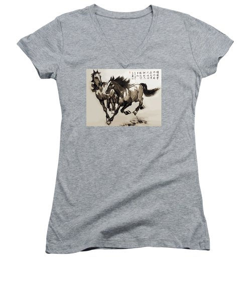 Companionship Women's V-Neck T-Shirt (Junior Cut) by Yufeng Wang