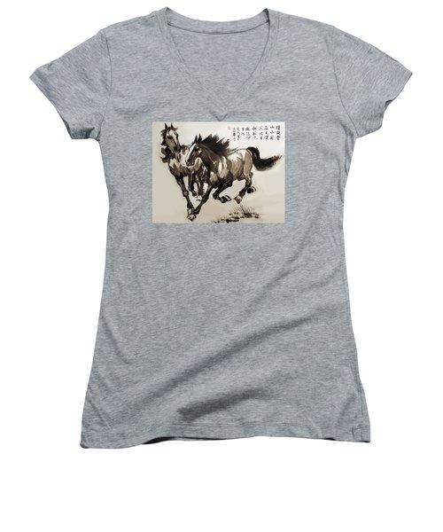 Women's V-Neck T-Shirt (Junior Cut) featuring the photograph  Companionship by Yufeng Wang