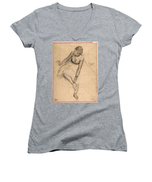 Dancer Adjusting Her Slipper Women's V-Neck T-Shirt