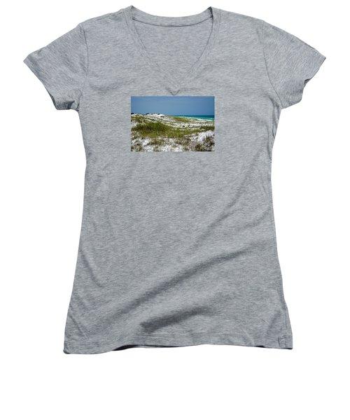 Women's V-Neck T-Shirt (Junior Cut) featuring the photograph  Dunes    Panama City Beach  by Susan  McMenamin