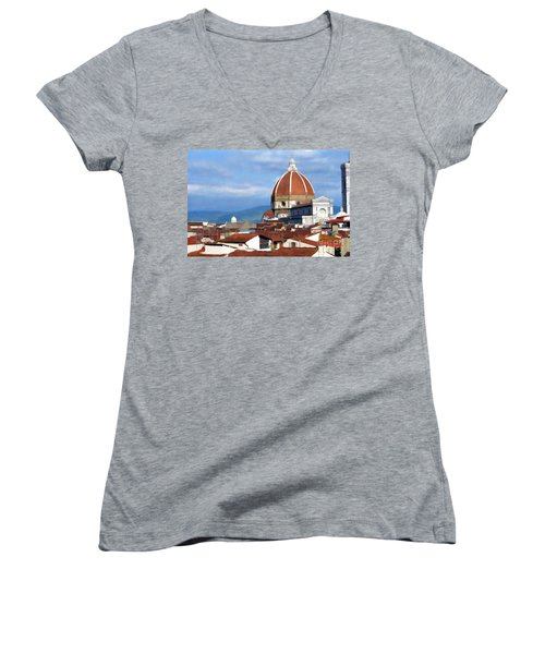 Women's V-Neck T-Shirt (Junior Cut) featuring the photograph  Duomo Of Florence # 3 by Allen Beatty