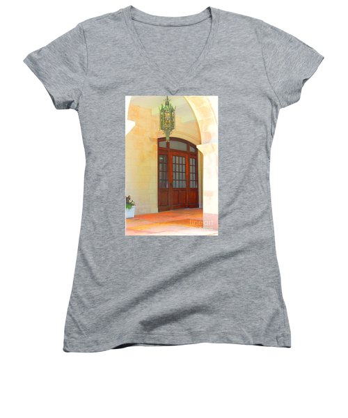 Women's V-Neck T-Shirt (Junior Cut) featuring the photograph  Elegant Arched Entrance by Judy Palkimas