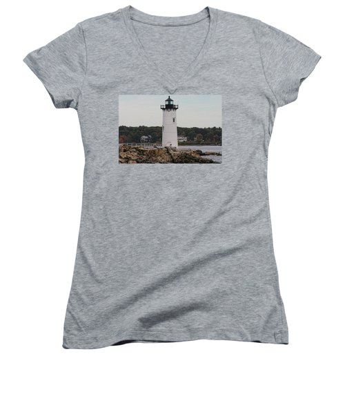 Fort Constitution Light Women's V-Neck T-Shirt (Junior Cut) by Denyse Duhaime