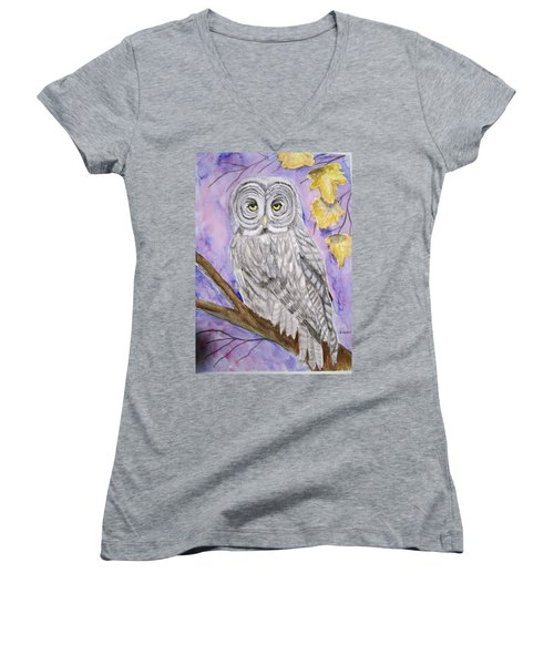 Women's V-Neck T-Shirt (Junior Cut) featuring the painting  Grey Owl by Belinda Lawson