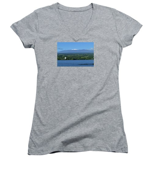 Women's V-Neck T-Shirt (Junior Cut) featuring the photograph  Hawaii's Snow Above Hilo Bay Hawaii by Lehua Pekelo-Stearns