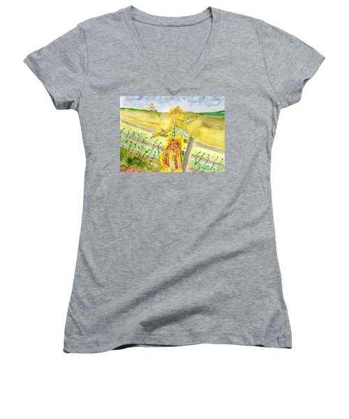 Napping Scarecrow Women's V-Neck T-Shirt