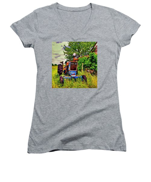 Old Ford Tractor Women's V-Neck T-Shirt (Junior Cut) by Savannah Gibbs