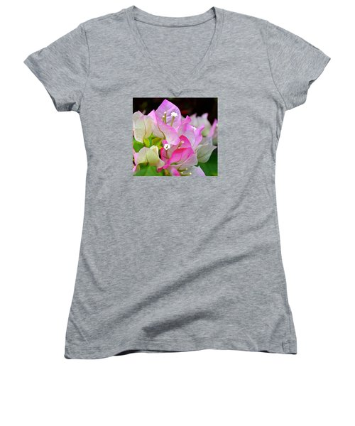 Pink  Bougainvillea ...with A Friend Women's V-Neck T-Shirt (Junior Cut) by Lehua Pekelo-Stearns